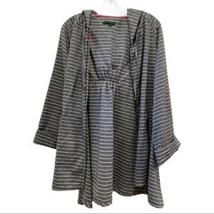 For Cynthia Linen Blend Striped Hoodie Jacket XL